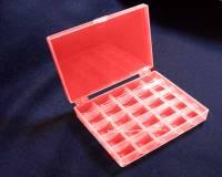 Spulendose für 25 Nähmaschinenspulen oder Bobbins, transparent rot