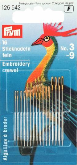 Feine Stick-und Nähnadeln (Crewel) No 3/9  mit Goldöhr von PRYM
