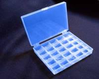 Spulendose für 25 Nähmaschinenspulen oder Bobbins, transparent blau